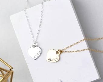 Personalised Heart Necklace • Sterling Silver Heart Necklace • Gold Heart Necklace • Name Necklace • Personalised Necklace • Custom Name