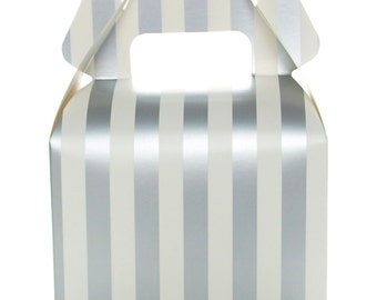 Silver Wedding Favor Box, Silver Stripe Party Boxes (12 Pack) - Square Gable Gift Box, Treat Boxes for Anniversary or Graduation Candy Boxes