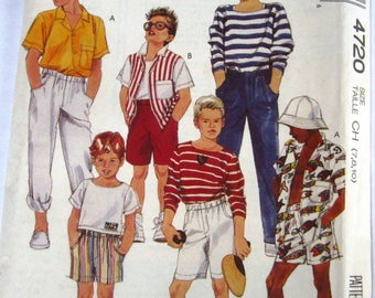 Easy Sew Boys Camp Shirt, Top, Pants and Shorts Sizes 7 8 10 McCalls Pattern 4720 UNCUT
