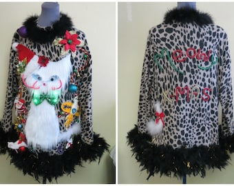 Darling & Cute Fuzzy Furry Kitty Cat Tacky Ugly Christmas Sweater, size Large L and matching Hat,  Light up sweater Christmas, Leopard Print