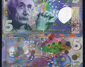Kamberra, 5 Numismas, 2018, UNC, Einstein, Completely redesigned