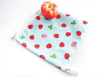 Small Drawstring Bag - Strawberry (Blue)
