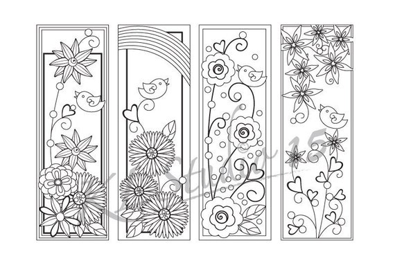 Happy Spring Coloring Bookmarks