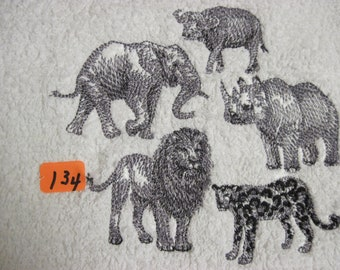 African animal group on a cotton terry hand towel 5 different animals