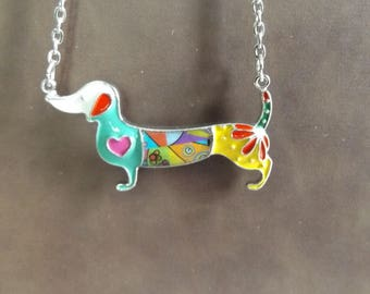 Colorful Bonsny Dachshund Pendant Necklace Wiener Dog Doxie   Jewelry Dog pendant