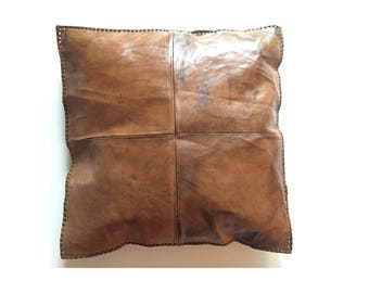 Large Handmade Leather Pillow Cushion 48 x 48 CM 1 sided