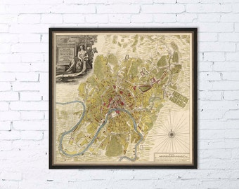 Moscow map - Old map of Moscow print - Fine reproduction
