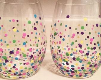 Dot Stemless Wine Glasses- Set of 2