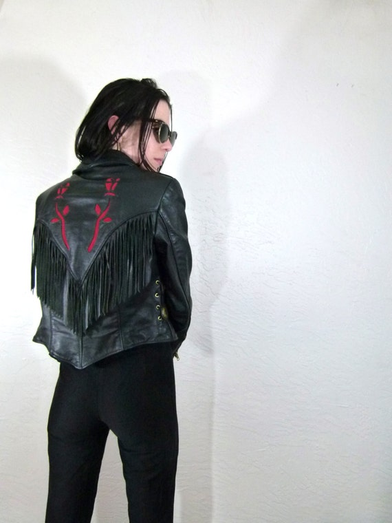 80s Leather Rose Well Traveled Fringe Motorcycle Jacket with Conch Cropped, Small