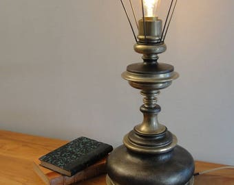 Table lamp original wood and brass