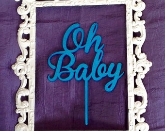 Oh Baby Cake Topper, Baby Shower Diaper Party Cake Decoration in colourful acrylic