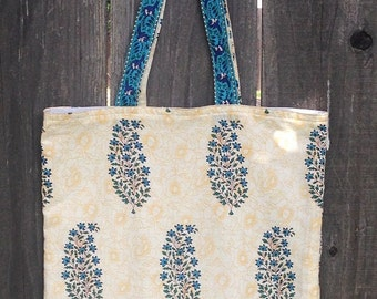 Lovely Tote Bag- 100% cotton, Hand block Printed- Blue and off white