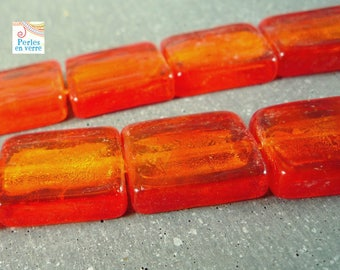 5 rectangular beads, orange and silver glass 15x20mm (pv209)
