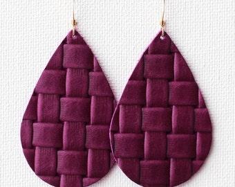 Plum Weave Leather Drop Earrings, the leather drop