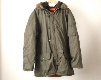 MILITARY 60s 70s solid color ARMY green VIETNAM jacket coat faux fur collar