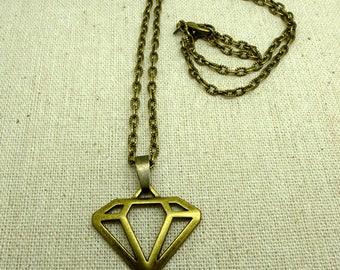 1 chain charm bronze textured diamond CHN 0014