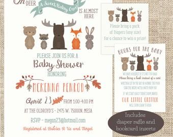 Woodland Animal GIRL Baby Shower Invitation