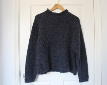Vintage LIMITED Sweater- Fuzzy & Blue- Turtle neck- M