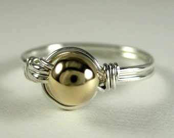 Mixed Metals Ring Wire Wrapped Sterling Silver and 14k Gold Filled O Loop
