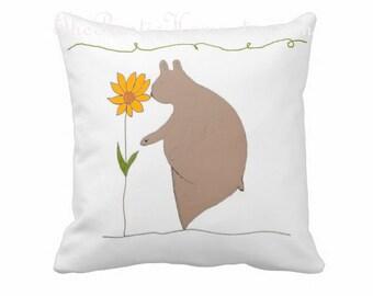 Woodland ours toss oreiller nature tournesol enfants salle de l'adolescence adulte décor nature ours
