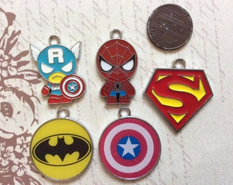 SET of 5 Assortment of Marvel Super Hero Metal Charm Pendant DIY Necklace Jewelry Making