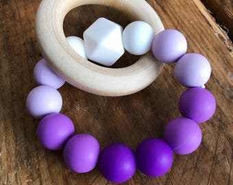 READY TO SHIP! Purple Pantone Colour of the Year Inspired Teether with Wood Ring