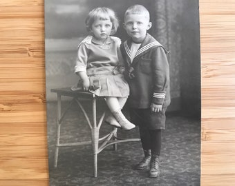 Vintage Real Photo Postcard RPPC black white children brother sister sweet faces adorable kids antique photograph