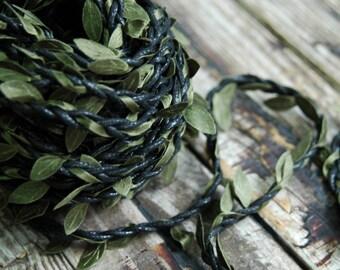 1 yard . Black Leaf Twine . Rustic Leaf Ribbon . Dia de los Muertos Day of the Dead . Flower Crown Vine . DIY Wedding Headpiece . DIY Crown