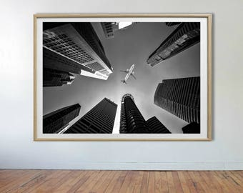 Skyscrapers Print, Building Print, Building Photo, Black and White Photo, Printable Digital Download, Large Poster, Architecture Prints