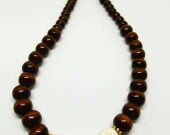 Wood Bead Necklace with Lava stone
