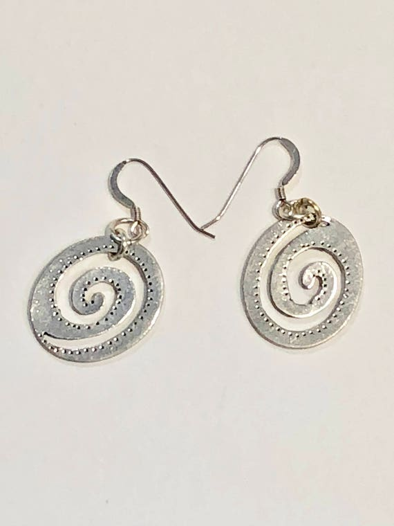 SJC10027 - Handmade flattened silver color spiral earrings with silver plated ear wires