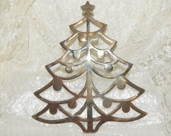 F B Rogers Silver Plated  Christmas Tree  Shaped Trivet Collectibles Hot pad Kitchen wall hanging