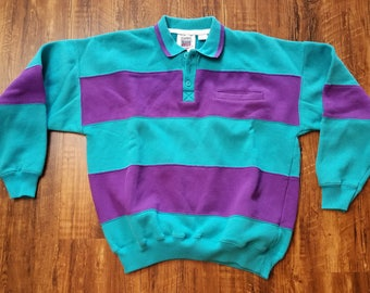 Vintage Purple And Turquoise Pullover