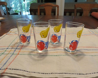 Vintage Libbey juice glasses with fruit design