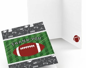 Football Thank You Cards - Baby Shower Thank You Cards - Birthday Party Thank You's - End zone - Football - Set of 8 Folding Note Cards
