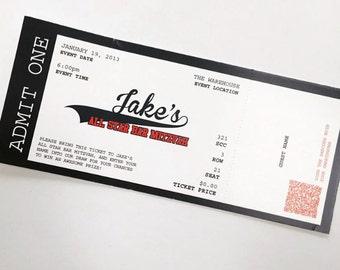 Admit One Bar Mitzvah Place Card Ticket