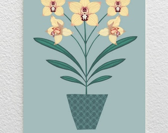 Orchid Card / Yellow Orchid Greetings Card / Yellow Flower Card