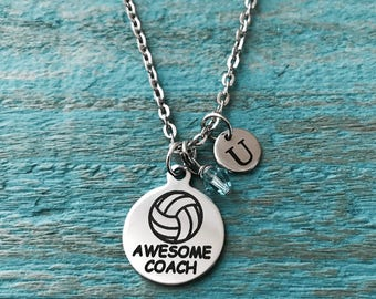 Awesome Coach, Volleyball, Volleyball Coach gift, Volleyball ball, volleyball coach, Charm Necklace, Silver Necklace, Gifts for, engraved