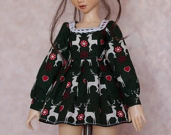 "MSD BJD Clothes - ""Winter Fairytales: Green Tale"" dress (Fairyland Minifee A-line) for 1/4 Girl"