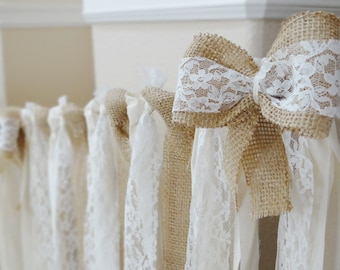 Cotton, Lace and burlap HUGE ROMANTIC Wedding Garland Backdrop / Fabric Banner/ Unique, Rustic, Party, Decor, Bridal shower, Shabby chic