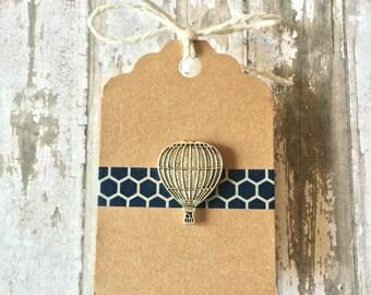 Hot Air Balloon Lapel Pin / Tie Tack - Antique Silver Tone