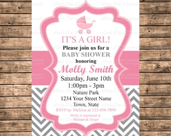 Personalized Pink and White with Gray Chevron Baby Carriage Baby Shower Invitation - Printable Digital File