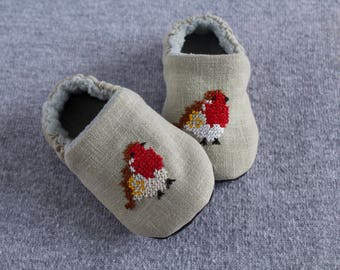 Hand embroidered Robin. grey pure linen Christmas shoes for pre walkers and toddlers