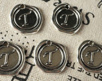 Alphabet letter T wax seal charm silver vintage style jewellery supplies
