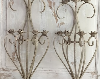 Vintage French Tole Wall Candle Sconces