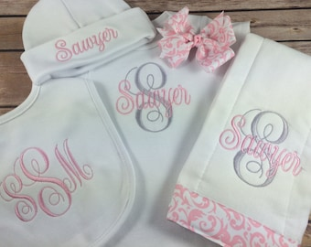 Baby Girl Coming Home OUTFIT, Personalized Baby Take Home Outfit, Pink Personalized Baby Outfit, Personalized Newborn