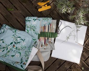 "The ""Pronto Pittografo"" spring, the bag for artists with the brush-case, original design Elanida"
