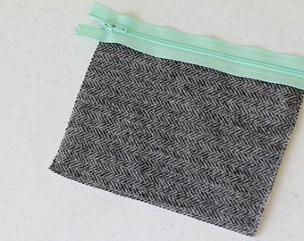 wool change purse, mini zipper pouch, earbud pouch, business card holder, id holder, small hand bag, coin purse, gray herringbone purse grey