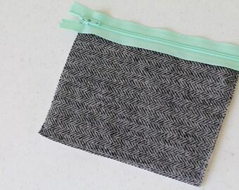 wool change purse, mini zipper pouch, earbud pouch, business card holder, id holder, small hand bag, coin purse, gray herringbone purse grey