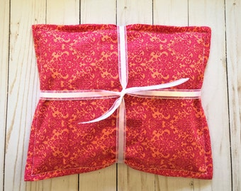 Cherry Pit Heating/Cooling Pack, Microwave Heating Pad, Warming Bag/Pillow, Heat Therapy, Spa Relaxation Gift, Get Well, Pink/Orange Damask